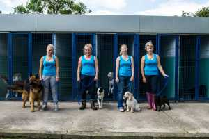 Dog kennels and staff